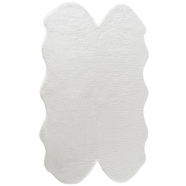 Fake Rabbit Fur Accent Area Rug - Ultra Soft with Faux Suede Backing - Polyester - 3x5 Quad Pelt Short Pile Sheepskin Rug. Opens flyout.