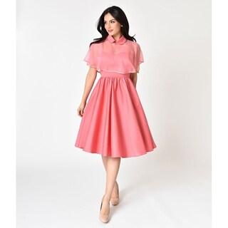 Unique Vintage Coral Pink Luna Swing Dress & Capelet