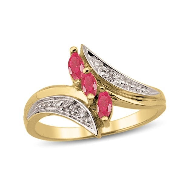 10K Yellow Gold Genuine Bypass Birthstone Ring with Diamond Accents. Opens flyout.