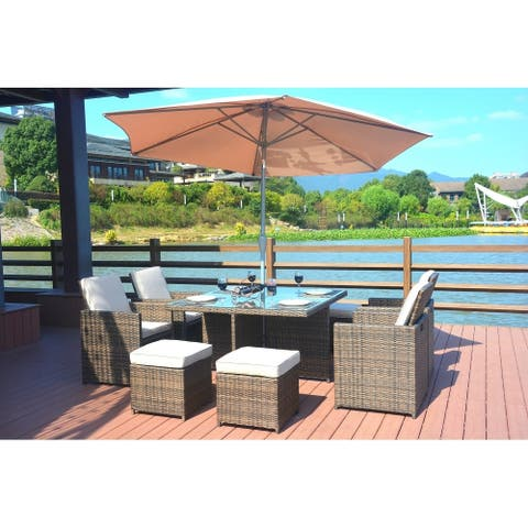 Cubo 10-piece Cube Brown Wicker Patio Dining Set with 9.8 ft Market Umbrella and Base by Direct Wicker