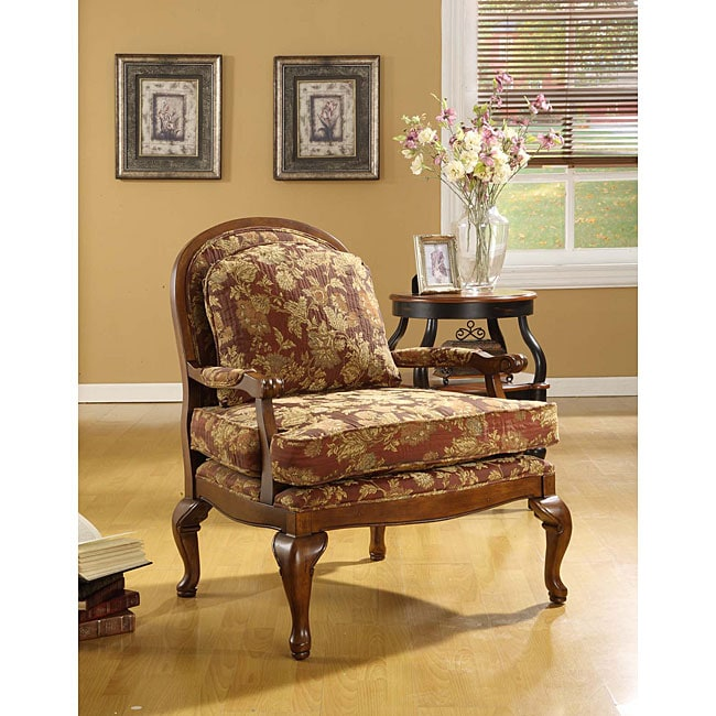 Shop Salon Burgundy Brocade Chair Free Shipping Today