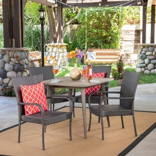 Lagen Outdoor 5 Piece Wood and Wicker Dining Set by Christopher Knight Home (Grey/Teak)