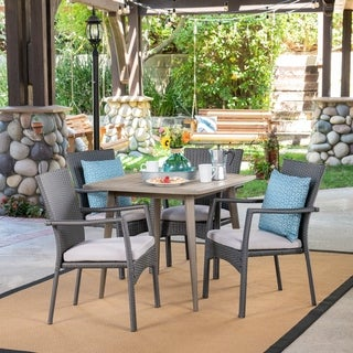 Marias Outdoor 5 Piece Wood and Wicker Dining Set by Christopher Knight Home (Grey/Crme/Teak)