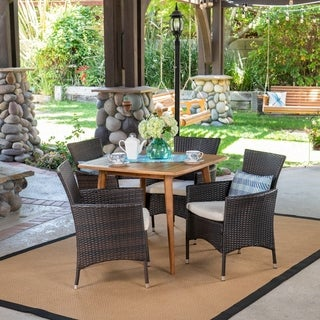 Coronados Outdoor 5 Piece Wood and Wicker Dining Set by Christopher Knight Home