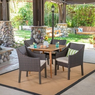 Damas Outdoor 5 Piece Wood and Wicker Dining Set by Christopher Knight Home