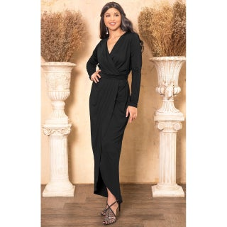 KOH KOH Womens Long Sleeve Cocktail Party V-Neck Wrap Gown Maxi Dress