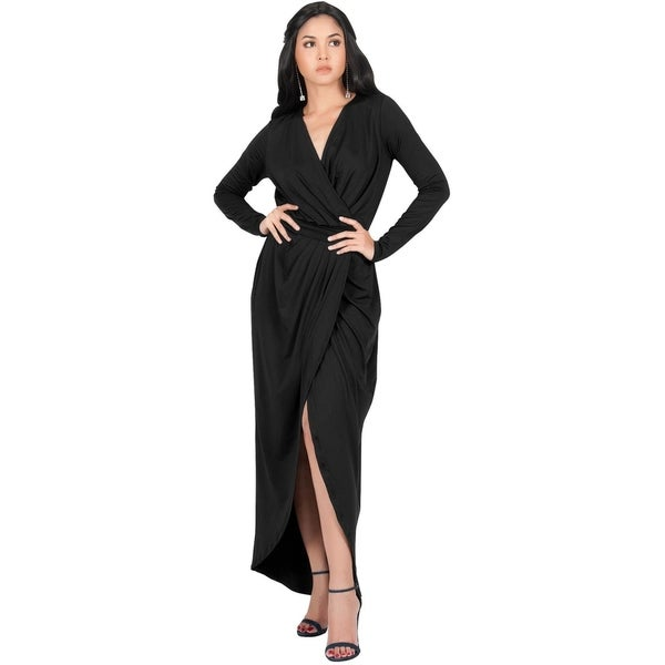 f09e31e3aaa Shop KOH KOH Womens Long Sleeve Cocktail Party V-Neck Wrap Gown Maxi ...