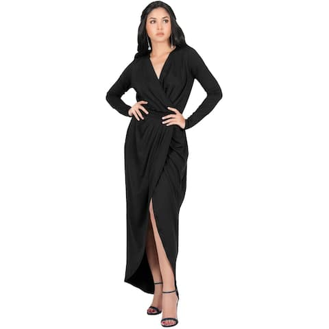 74f7bc9264f KOH KOH Womens Long Sleeve Cocktail Party V-Neck Wrap Gown Maxi Dress