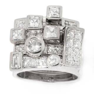 "Michael Valitutti Palladium Silver ""Manhattan Stack"" Set of Four White Zircon Stack Band Ring"