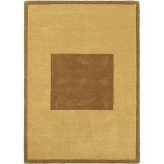 eCarpetGallery  Hand Tufted Abstract Art Brown, Light Gold Wool Rug - 5'3 x 7'5