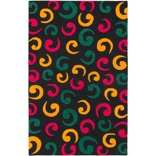 eCarpetGallery  Hand Tufted Oleander Black Wool Rug - 5'0 x 8'0