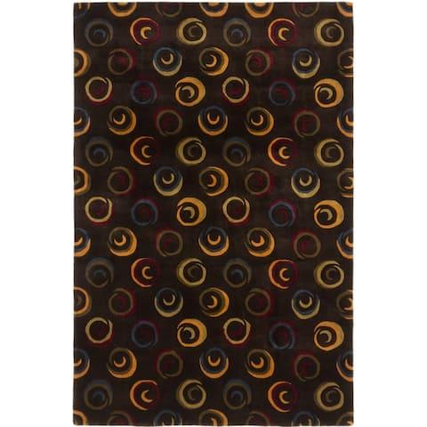 eCarpetGallery Hand Tufted Pierrot Black Yellow Wool Rug - 5'3 x 8'0