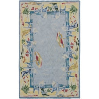 eCarpetGallery Hand Tufted Reflections Light Blue Rug - 5'0 x 8'0