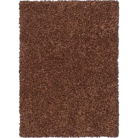 eCarpetGallery Hand Tufted Ribbon Dark Brown Shag - 4'6 X 6'6
