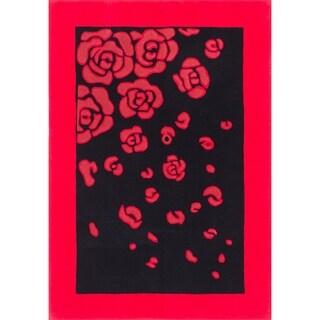 eCarpetGallery Hand Tufted Abstract Art Black, Dark Burgundy Wool Rug - 5'6 x 8'0