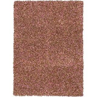 eCarpetGallery Hand Tufted Ribbon Light Brown, Pink Shag - 4'6 X 6'6