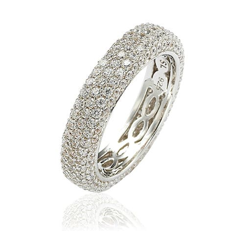 Suzy L. Sterling Silver Cubic Zirconia White Eternity Band