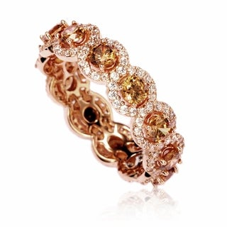 Suzy Levian Rose Sterling Silver Cubic Zirconia Champagne Round Eternity Band (2 options available)