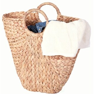 "18"" Natural Handwoven Water Hyacinth Storage Laundry Basket/ Handbag"