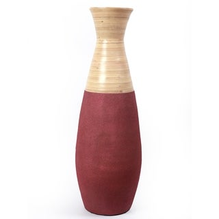 """31.5"""" Tall Handcrafted Floor Vase, Burgundy and Natural"""