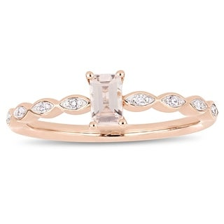 Miadora 10k Rose Gold 1/4ct TDW Marquise and Round-Cut Diamond Infinity Engagement Ring (More options available)