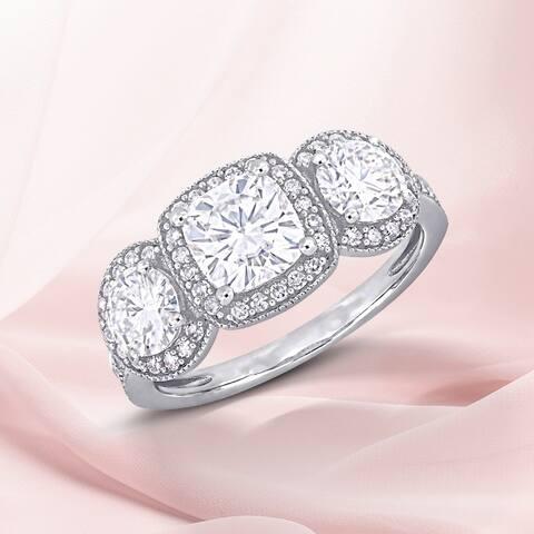 Miadora 1 7/8 DEW Moissanite 1/3ct TDW Diamond 3-Stone Halo Engagement Ring in 14k White Gold
