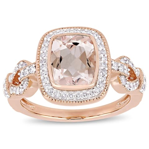 Miadora Signature Collection 10k Rose Gold Morganite and 1/3ct TDW Diamond Loop Halo Engagement Ring