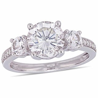 Miadora 10k White Gold Created White Sapphire and Diamond 3-Stone Engagement Ring (More options available)