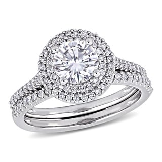 Link to Moissanite by Miadora Signature Collection 14k White Gold 1ct TGW Moissanite and 1/2ct TDW Diamond Bridal Ring Set Similar Items in Rings
