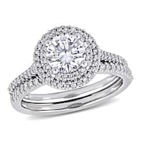 Moissanite by Miadora Signature Collection 14k White Gold 1ct TGW Moissanite and 1/2ct TDW Diamond Bridal Ring Set