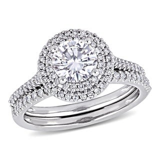 Moissanite by Miadora Signature Collection 14k White Gold 1ct TGW Moissanite and 1/2ct TDW Diamond Bridal Ring Set (More options available)