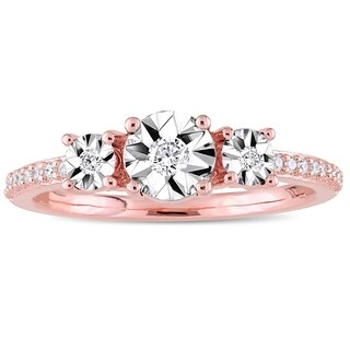 Miadora Rose Plated Sterling Silver 1/7ct TDW Diamond 3-Stone Engagement Ring (5 options available)