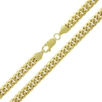 """14k Yellow Gold 6mm Hollow Miami Cuban Curb Link Thick Necklace Chain 22"""" - 32"""""""