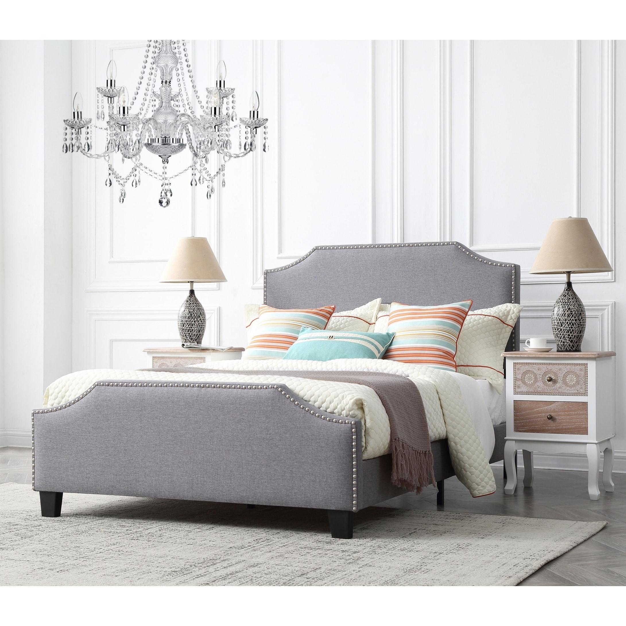 Caroline Platinum Upholstered Full Bed with Nailhead Trim
