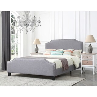 Caroline Platinum Upholstered Queen Bed with Nailhead Trim