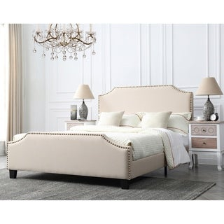 Caroline Champagne Upholstered Queen Bed with Nailhead Trim