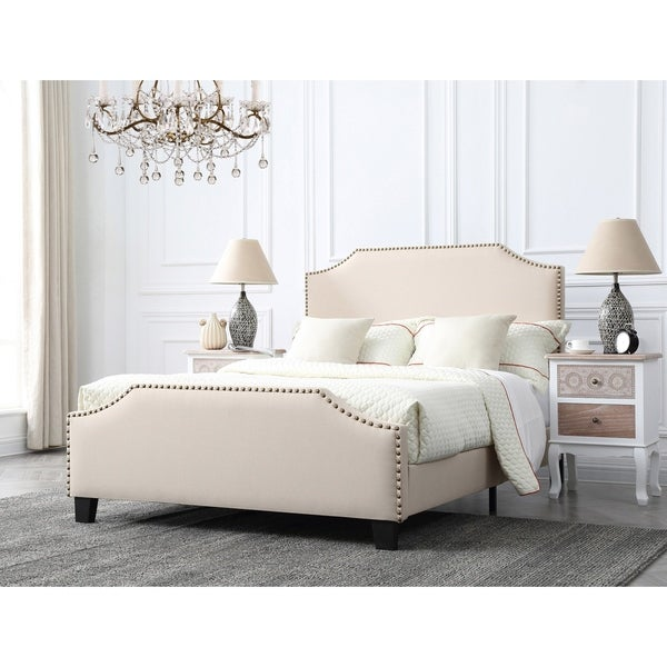 Shop Caroline Champagne Upholstered Full Bed With Nailhead