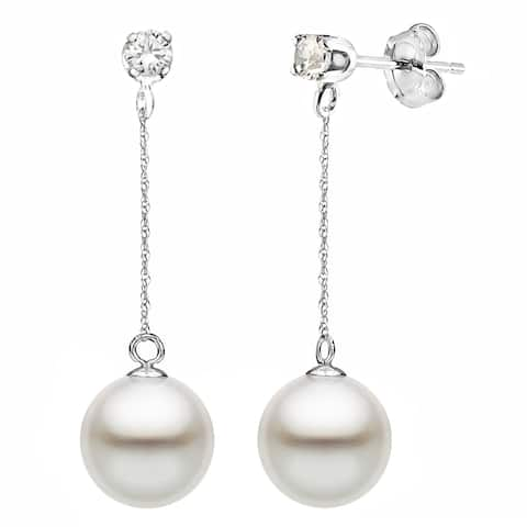 DaVonna 14K White Gold 1/10cttw Diamond White Freshwater Pearl Stud Dangle Earrings