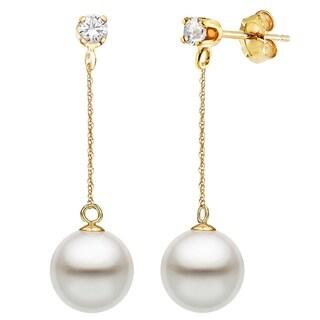 DaVonna 14K Gold 1/10cttw Diamond White Freshwater Pearl Stud Dangle Earrings