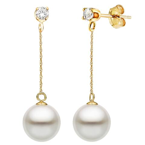 DaVonna 14K Gold 1/10cttw Diamond White Freshwater Pearl Stud Dangle Earrings