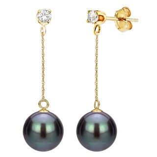 DaVonna 14K Gold 1/10cttw Diamond Black Freshwater Pearl Stud Dangle Earrings