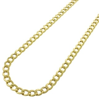 10k Yellow Gold 4 5mm Hollow Cuban Curb Link Necklace Chain 18 26