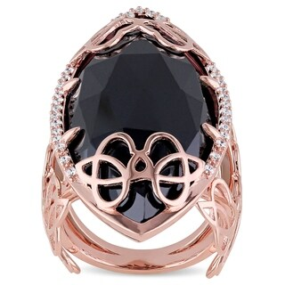 Miadora Signature Collection 18k Rose Gold 25 CT TGW Black Onyx and 1/3ct TDW Diamond Abstract Statement Ring