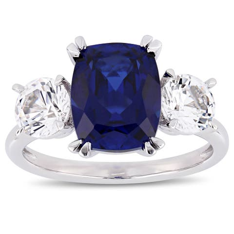 Miadora 10k White Gold Created Blue and Created White Sapphire 3-Stone Engagement Ring