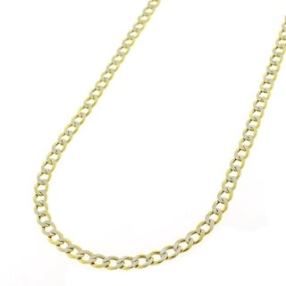 """10k Yellow Gold 3.5mm Hollow Cuban Curb Link Diamond Cut Two-Tone Pave Necklace Chain 16"""" - 30"""""""