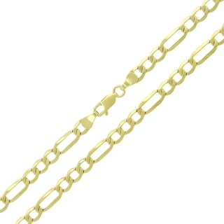 """10k Yellow Gold 4.5mm Hollow Figaro Link Necklace Chain 20"""" - 26"""""""