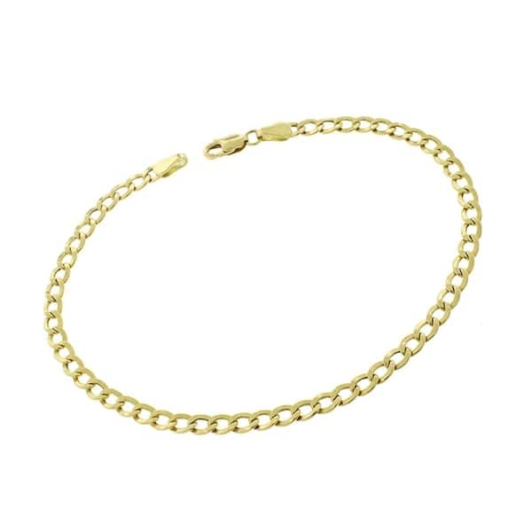 729321b16 Shop Authentic 14k Yellow Gold 3.5mm Hollow Cuban Curb Link Bracelet ...