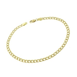 14k Yellow Gold 3.5mm Hollow Cuban Curb Link Bracelet Chain 8""