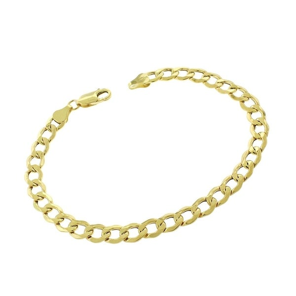49cb180c3 Authentic 14k Yellow Gold 6mm Hollow Cuban Curb Link Bracelet Chain 8