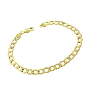 14k Yellow Gold 6mm Hollow Cuban Curb Link Bracelet Chain 8""